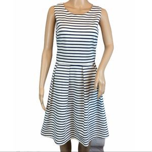 FELICITY & COCO Striped Fit &Flare Dress Large